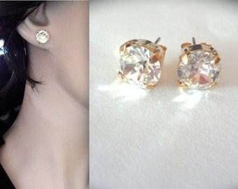 Gold stud earrings, Gold crystal earrings - 8mm Studs -Swarovski stud crystals - Brides earrings - Bridesmaids stud earrings - Chunky - Gift