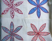 Quilt Squares, Set of Four (4), Vintage Flour Sack 30s-40s Fabric,