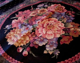 Vintage Fabric Panel, Eight Squares, Spring Floral Arrangement in Medallions, Black Ground, Pink, Purples, Grey Accents