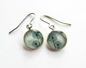 Blue Dandelion Drop Earrings, Dandelion Seed Picture Jewellery, Gift for Her, Surgical Steel, Hypoallergenic