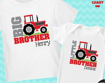 Red Tractor Big Brother Shirt & Tractor Little Brother Shirt - 2 Personalized Sibling Shirts
