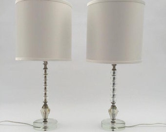 Lucite Table Lamps, Mid Century Vintage Lighting, Set of Two