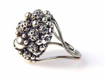 Complex Molecule Modernist Cluster Ring in Sterling Silver Hand Fabricated Ring Awesome in Size, Uniqueness and Design Adjustable Size