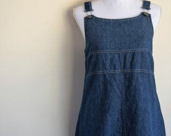 salvation armani vintage overall dress - vintage dress - denim overall dress - vintage LL Bean - blue denim dress - vintage size 12