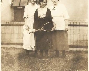 "Vintage Snapshot ""Tennis, Anyone?"" Girl Holding Tennis Racquet Found Vernacular Photo"