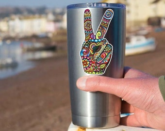 Small Hippie Peace Sign Hand Sticker - Laptop Decal Yeti Tumbler Decal Colorful Flower Peace Sign Symbol 70s Cute Peace Sign Love Art Floral