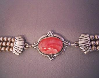 Vintage Sterling Silver Rhodochrosite  Toggle Bracelet