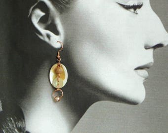 Shell, copper and crystal drop earrings, hand made from vintage components, new ear wires, OOAK