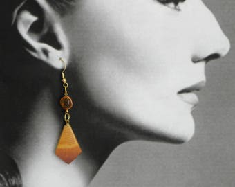 Amber and tigerwood earrings, OOAK, vintage components on all new gold plated ear wires Pure Drama 70mm drop, summer, garden party, bikini