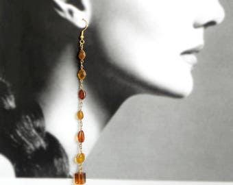 Pure Drama amber drop earrings with natural amber and upcycled amber glass finials, goes with everything in your summer and fall wardrobes!