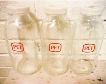 Set of Pet glass bottles vintage display orange juice milk vintage 1970's farmhouse decor three