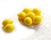 8pc Yellow Lemon beads, 10x14mm Glass fruit beads, bright yellow top drilled lemons - 14x10mm - 0777