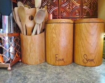 Vintage 1970s MID Century Modern Scandinavian Wood Cornwall Pantry Storage Canisters