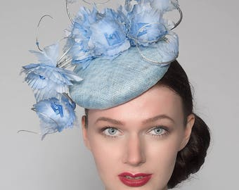 "Cornflower Blue Silver Silk Flowers Smartie Headpiece Cocktail Ascot Hat ""Reba"" FG2507 Spring Racing Mother of The Bride Hatinator Serenity"