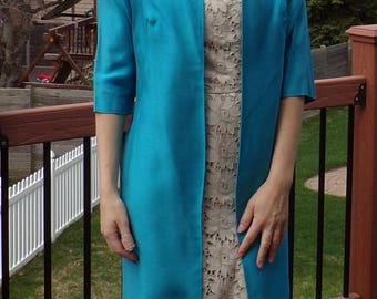 1960's 3/4 SLEEVE DRESS JACKET long coat spring S turquoise aqua