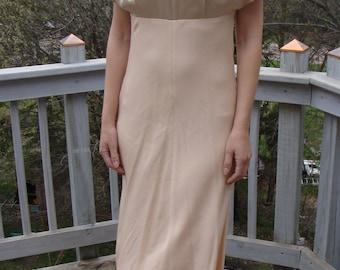 1990's does 1930's BLUSH BIAS cut satin DRESS long gown S