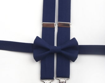 Navy Blue bow tie & suspenders, navy bow tie, ring bearer outfit, blue braces, boys blue bow tie, toddler suspenders, dark blue bow tie