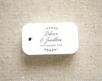 Rustic Botanical Wedding Favor Tags -Personalized Gift Tags -Bridal Shower -Thank you tags- Party Tags Custom Gift Tags - (Item code: J657)