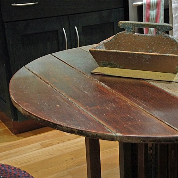 Vintage TEAK BERGA Form ROUND Yacht Table, Made in the U S A, Rustic Primitive Drop Leaf Early 20th C Table, PickUp by Appointment