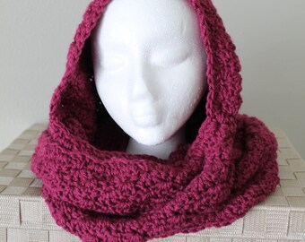 Handmade Hooded Scarf - Crochet Scarf -  Women or Teen - Aubergine - Shell Pattern Hoodie