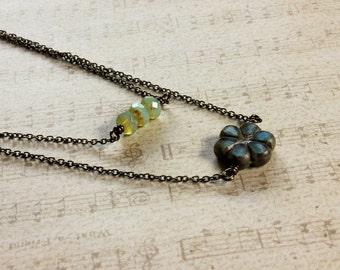 Simple Czech Glass Beads Layered Brass Chain Necklace, Boho Necklace, Brass Jewelry, Czech Glass Flower Necklace