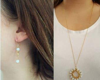 Moonstone and Gold Pendant with Long Chain and Earrings Set