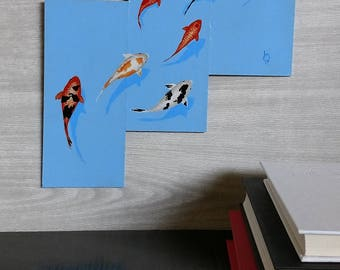 Group Koi Fish Painting - Colorful - Wall Art - Painted Fish - Blue Background Painting - Swimming - Realistic Painting - Zen - Goldfish