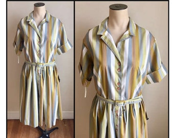 Vintage 1960s Misses' Green Grey Brown Stripe Shirt Dress New Old Stock 8 10
