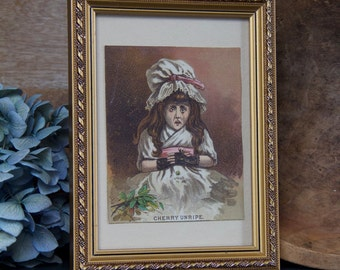 "Vintage Framed ""Cherry Unripe"" Picture"