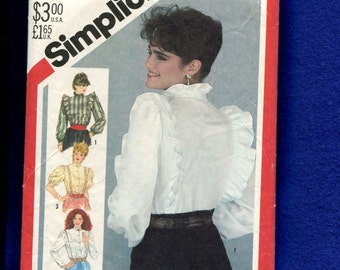 Vintage 1980's Simplicity 5609 Victorian Style Western Blouses with Ruffled Shoulders & Neck Size 12