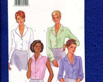 Butterick 6216 Classic Blouses with Pop Up & Notched Collar Size 8..10..12 UNCUT
