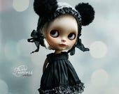Blythe Victorian Helmet NIGHT MYSTERY By Odd Princess, Hand Knitted Collection