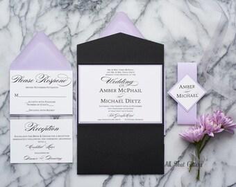 Elegant Wedding Invitation Package, Lilac Wedding Invitation suite with RSVP, traditional Wedding Invitations, light purple, Amber