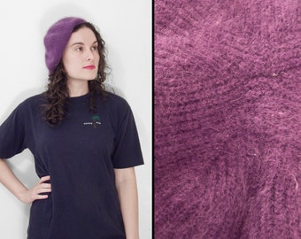 Plum BETMAR Tam 1970s Purple Winter Beret Aubergine Angora Wool Blend one size