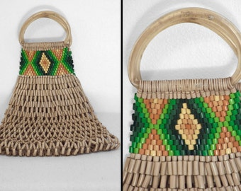 Tribal BEAD Bag 1970s Top Handle Purse Open Weave Browns Greens Gold