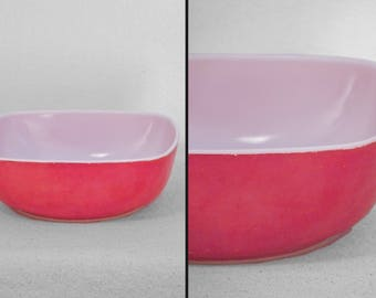 Square Red PYREX Bowl 1950s Ovenware A5 1.5 Quarts Mixing Cooking Baking