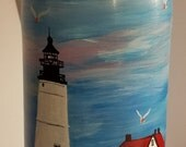 Light house bottle, Portland Head Light bottle, nautical light, light wine bottle, hand painted bottle, lights up