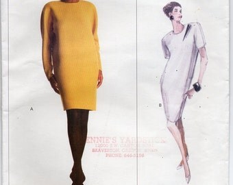 Straight Dress With Shoulder Pads Side Panels No Side Seams Back Button Closing Size 14 Sewing Pattern 1988 Calvin Klein Vogue 2190