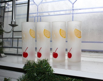 4 Vintage Tumblers Lemons and Cherries High Ball Iced Tea Mid Century Frosted Glass