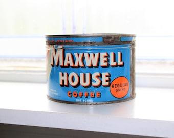Vintage Kitchen Tin Maxwell House Coffee 1950s
