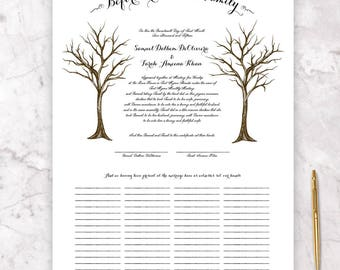 Marriage Certificate - Two Trees Winter - Fits Standard Frame Size