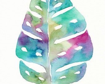 Colorful Palm Leaf, Original Watercolor Painting, 8x10, botanical art, tropical leaf, green, teal, pink, purple