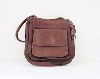 Vintage 1970's Chocolate Leather Handbag
