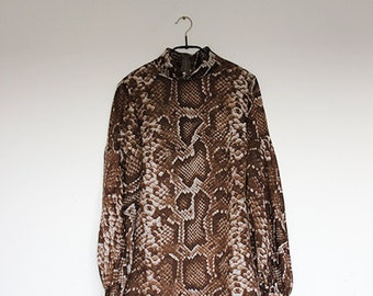 Vintage Brown Snake Skin Print Blouse Animal Print Top Sheer Long Poet Sleeve Shirt