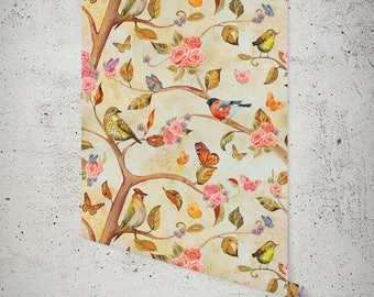 Removable Wallpaper - Woodland- Peel & Stick Self Adhesive Fabric Temporary Wallpaper-Repositionable-Reusable- FAST. EASY.
