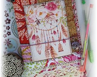 OOAK Fauxdori, Boho Dreamcatcher Midori, Fabric Collage Fauxdori, Traveler's Notebook, Free Insert!