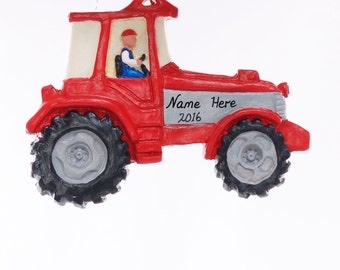 Personalized Tractor Christmas ornament - Red and grey tractor ornament can be personalized free with your choice of names  made in the USA