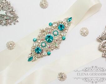 Crystal bridal belt, Rhinestone Sash, turquoise wedding, Silver Wedding Belt Sash