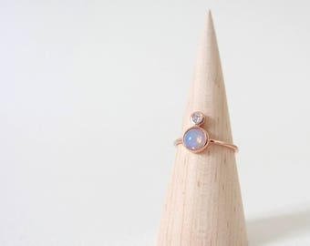The Orb - Rose Gold Stacking Ring, Opal Ring, Gifts for her