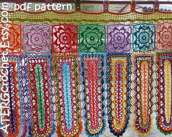 Crochet pattern BOHO CURTAIN 'panels' by ATERGcrochet